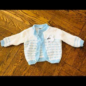 Baby blue & white stripe hand knit